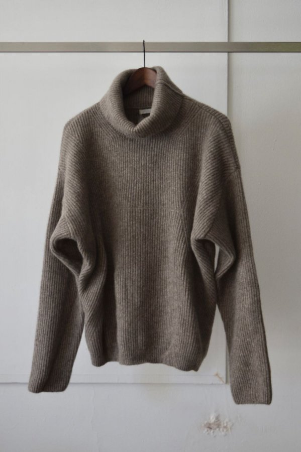 SEEALL  / COMPLEX RIB HIGH NECK SWETER / NATURAL GRAY