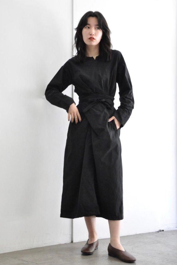 COSMIC WONDER / WRAPPED LONG SLEEVE DRESS / BLACK