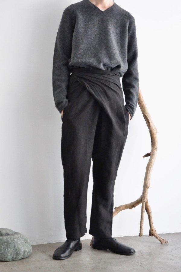 COSMIC WONDER / Linen canvas wrapped pants / Black