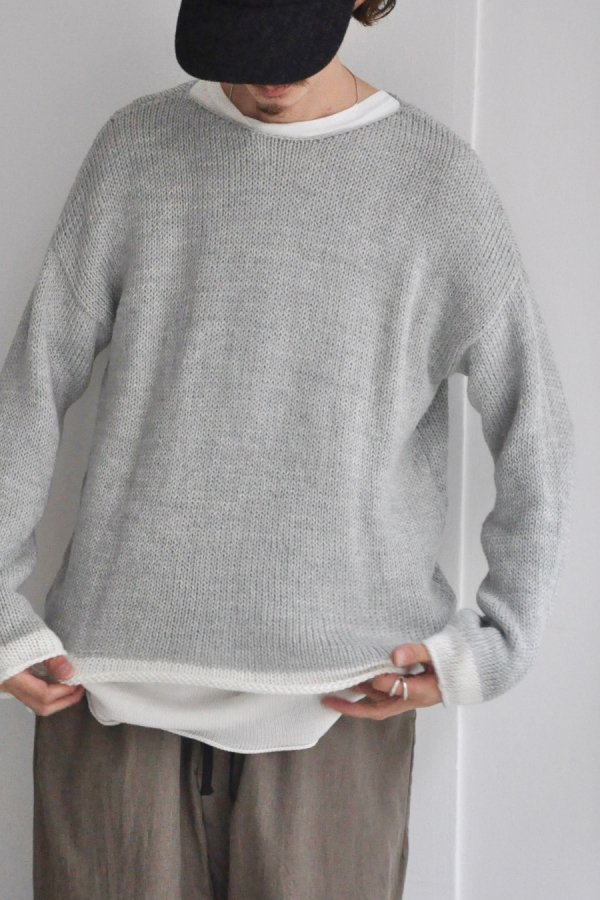 SEEALL  / OVERSIZED LS CONTRAST T-SHIRTS / L.GRAY + MOHAIR WHITE