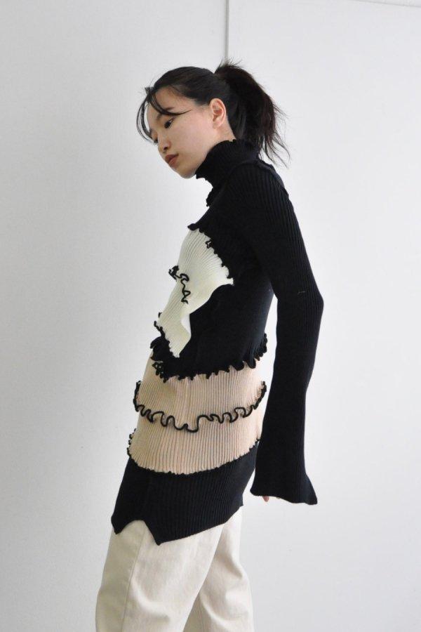 KOTOHA YOKOZAWA / SEMI LONG RIB KNIT / BLACK