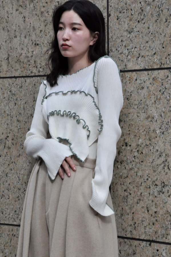 KOTOHA YOKOZAWA / LONG SLEEVE RIB KNIT / WHITE