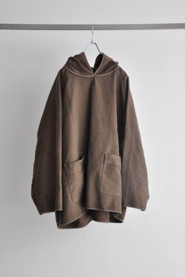 tac:tac / COTTON SUEDE PIPING HOODIE / LIGHT BROWN