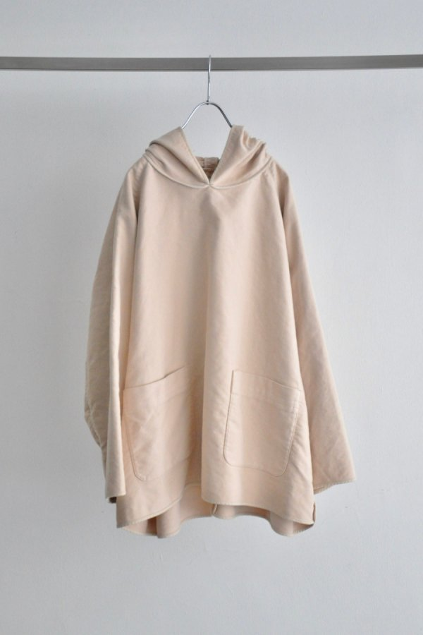 tac:tac / COTTON SUEDE PIPING HOODIE / LIGHT BEIGE