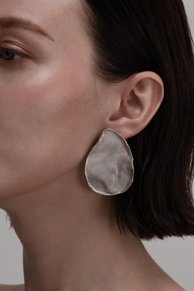 Irregular shape single earrings (silver)