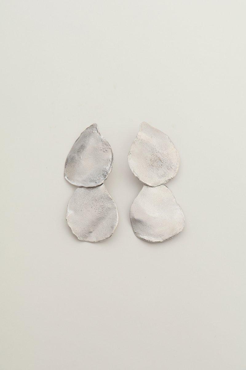 Irregular shape double earrings (silver)