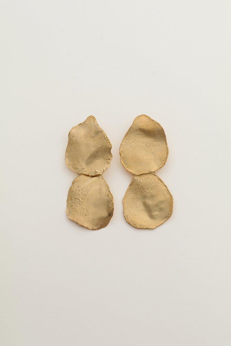 Irregular shape double earrings (gold)