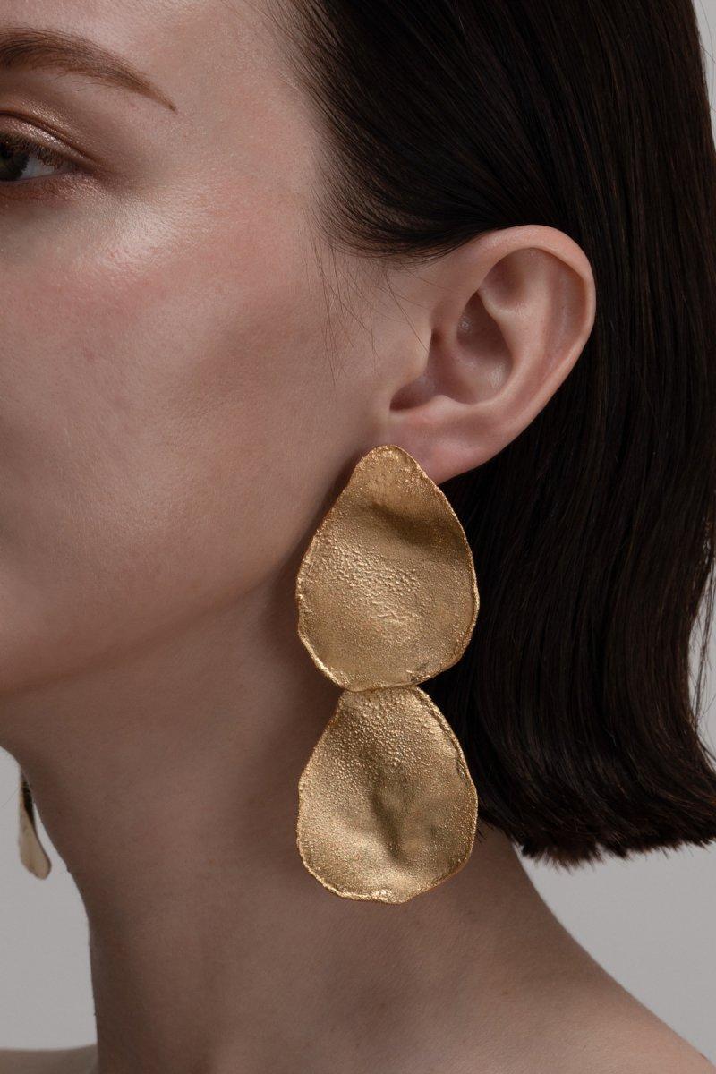 Irregular shape double pierce (Gold)