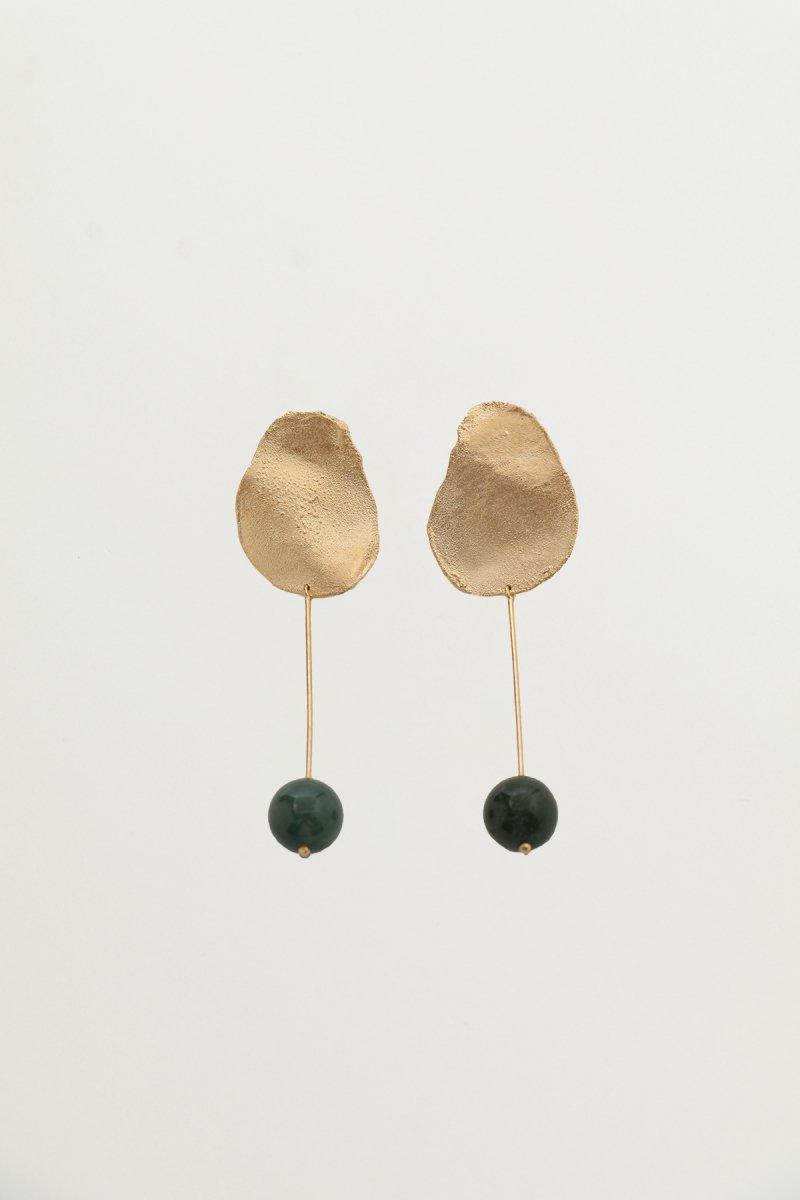 Stone drop pierce / Moss agate