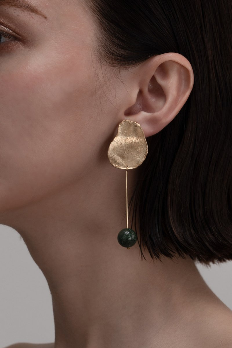 Stone drop earrings / Moss agate