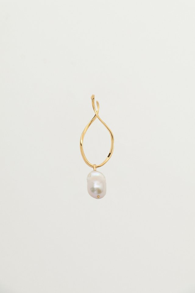 Baroque pearl twist wave ear cuff(gold)