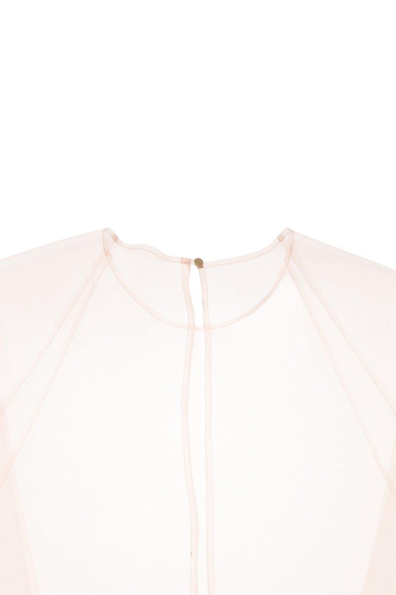 Sustainable tulle raglan sleeve over gown (Nude)