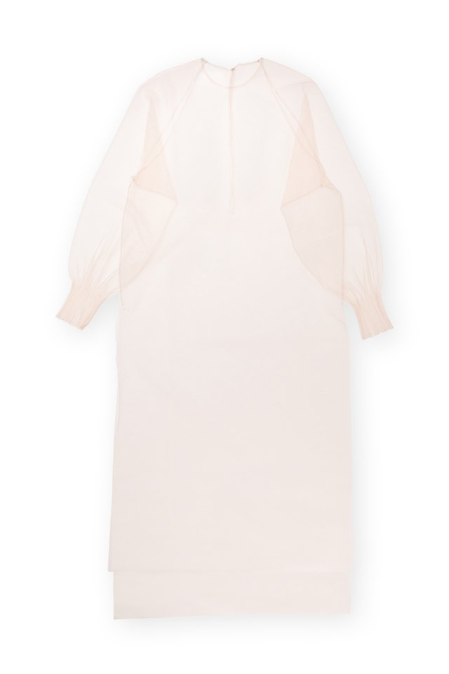 Coming soon!! Sustainable tulle raglan sleeve over gown (nude)
