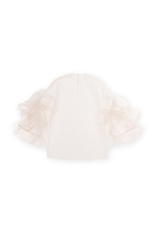 Sustainable tulle rippling ruffle p/o (Ivory)
