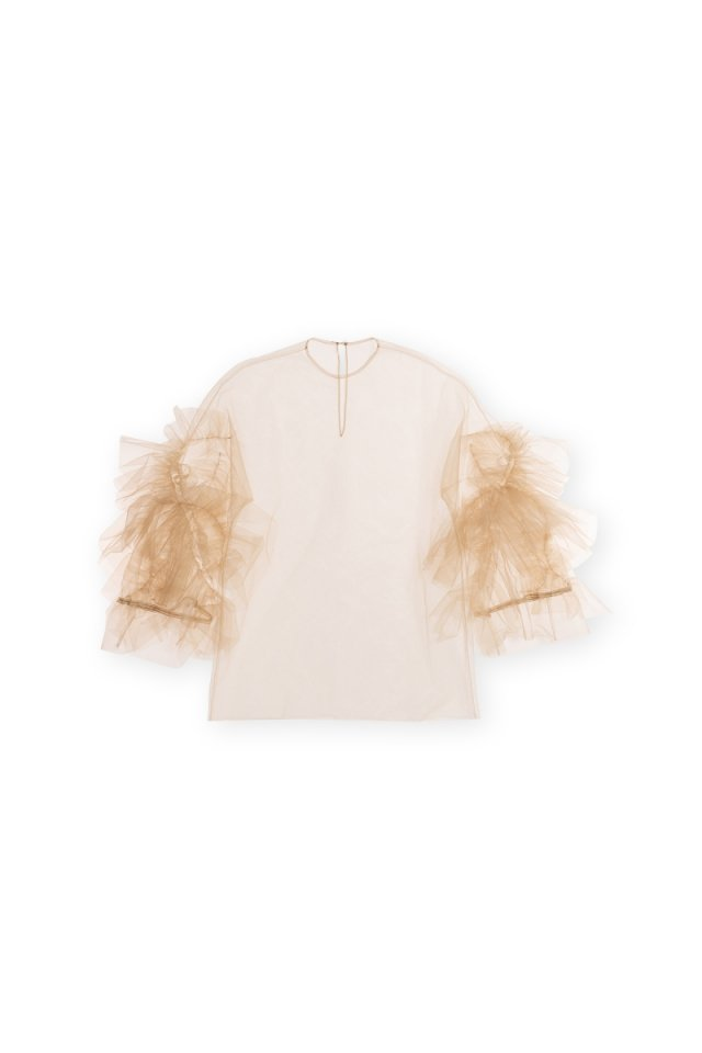 Sustainable tulle rippling ruffle p/o (Sand)