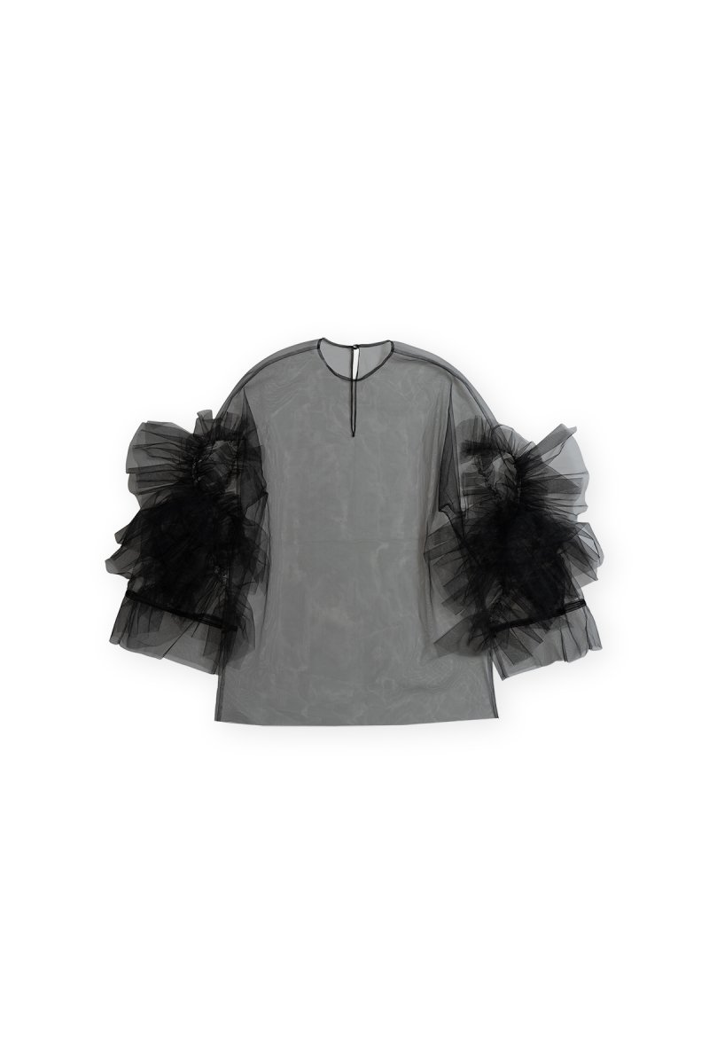 Coming soon!! Sustainable tulle rippling ruffle p/o (black)
