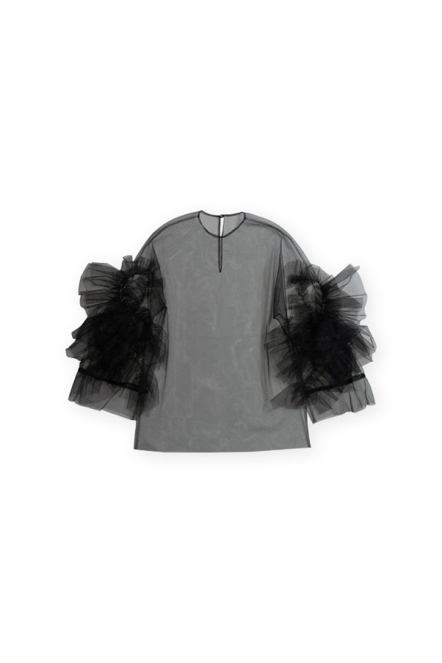 Sustainable tulle rippling ruffle p/o (Black)