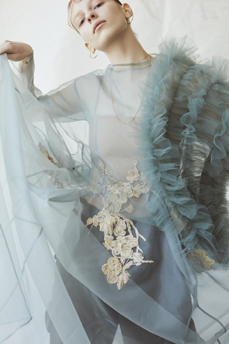 Sustainable tulle decorative french sleeve p/o (Sage green)
