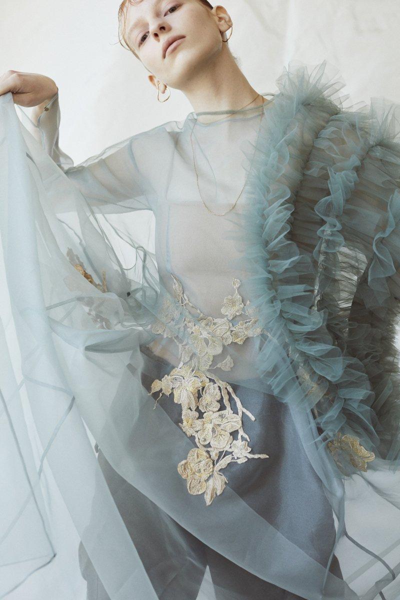 Sustainable tulle decorative french sleeve p/o (Ivory)