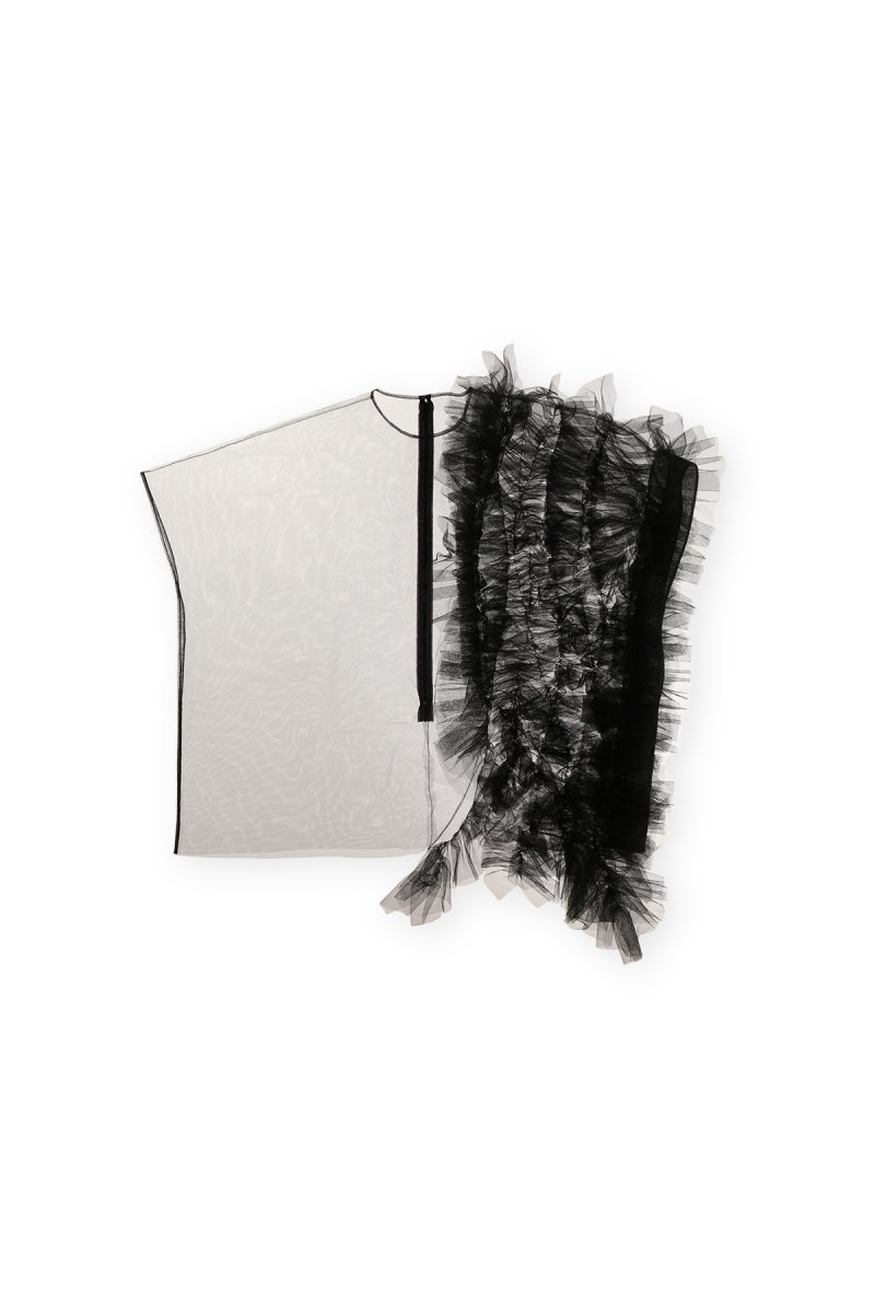 Coming soon!! Sustainable tulle decorative french sleeve p/o (black)