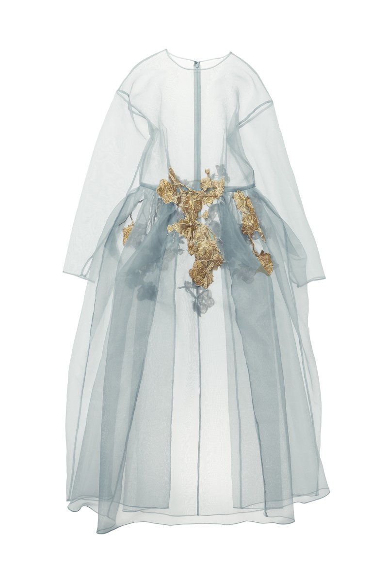 Coming soon!! Sustainable organdy embroidery lace over gown (grayish green)