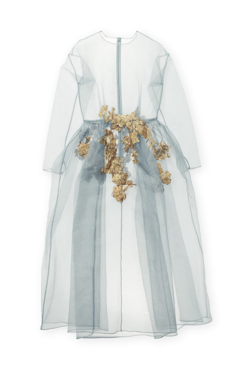 Sustainable organdy embroidery lace over gown (Grayish green)