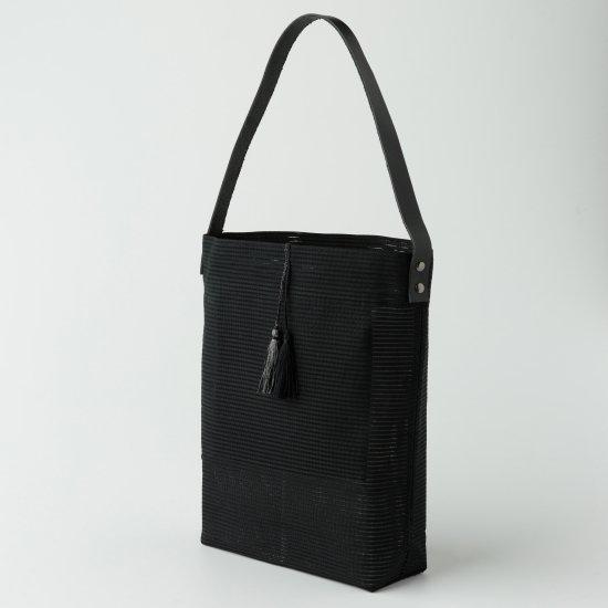 帯トートバック 黒絹の絽綴れ