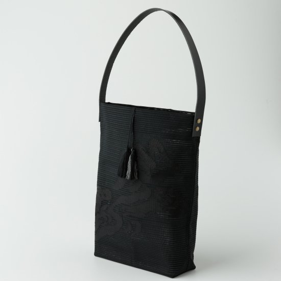 帯トートバック 黒.絽綴れ(1)