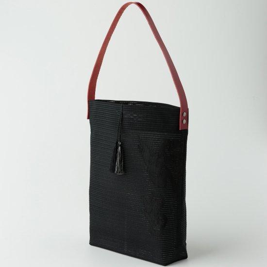 帯トートバック 黒.絽綴れ(3)