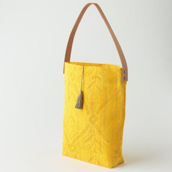 帯トートバック 黄色 絹羅