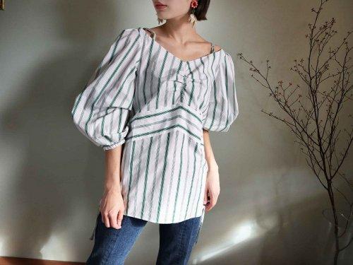 cotton stripe shirt green
