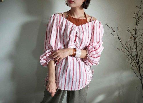 cotton stripe shirt red
