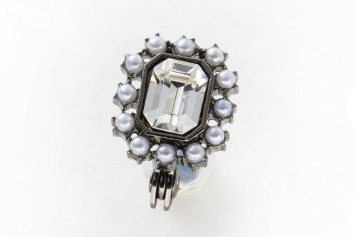 earclip-crystal pearl×black-