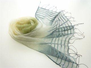 透き通るシルクコットンのグラデーションボーダー柄大人気の大判スカーフ グリーン系