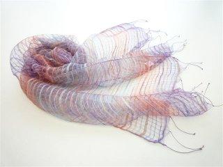 ふわっとやわらかシルクに先染色糸を織り込んだ大判スカーフ Dパープル×ピンク FS228-D