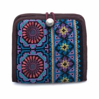 ThongPua モン族ヴィンテージ刺繍の二つ折り財布 Type.2(一点もの)