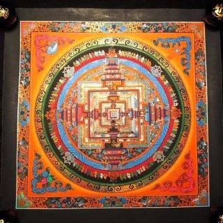 カーラチャクラ(時輪)曼荼羅(曼陀羅)◆サイズ約40×40cm◆ 額縁付約47×47cm(額縁サイズ)