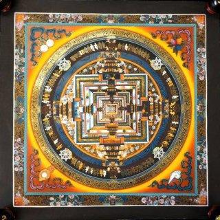 カーラチャクラ(時輪)曼荼羅(曼陀羅)図像◆サイズ約39×39cm◆ 額縁付