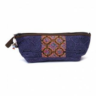 ThongPua 「タイの山岳民族」モン族の刺繍古布ペンケース(パープル)0091