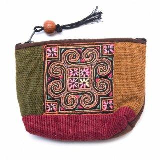 ThongPua モン族アンティーク刺繍の小物ポーチ0099