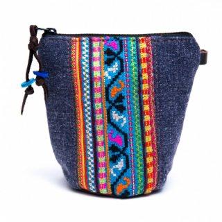 Rangmai モン族のヴィンテージ刺繍(丸底)ポーチ0035