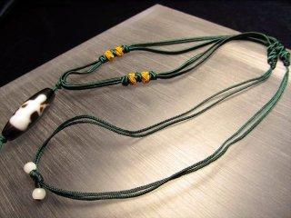 ◆天珠・天然石が装着可能!◆デザイン組み紐ネックレス◆東洋の趣きを感じる緑の紐タイプ◆サイズ調節付き◆首周りサイズ50-70cm◆タイプE◆
