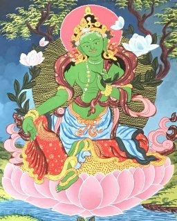 緑ターラー菩薩曼陀羅(曼荼羅) ◆仏画◆手描き