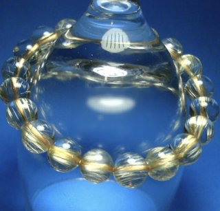 ゴールドタイチンルチルクォーツブレスレット約9.5mm