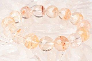 セリサイトとピンクカラーインクルージョンの混合物☆ガーデン水晶ブレスレット15mm(15pcs)-38
