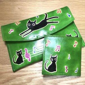 山羊革クロネコ財布2個セット グリーン