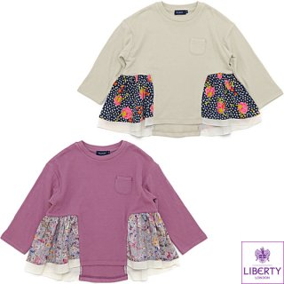 LIBERTY×接結天竺 フレアーギャザー 長袖Tシャツ(130〜150cm)
