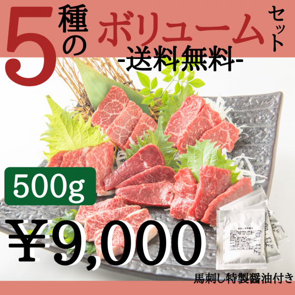 【送料無料】5種のボリュームセット(約10人前500g)馬菜特製醤油付き