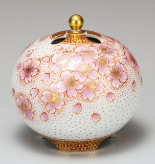 九谷焼香炉(3号) 金襴手桜