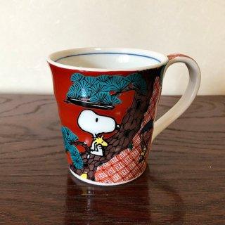 九谷焼マグカップ スヌーピー 赤絵